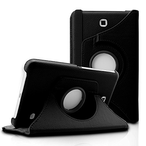 Infiland Samsung Galaxy Tab 4 7.0 Case, PU Leather 360° Rotating Stand Case Cover for Samsung Galaxy Tab 4 7-Inch / Galaxy Tab 4 Nook 7.0 (Galaxy Tab 4 7.0, Black) (Galaxy Tab 4 Case Nook)
