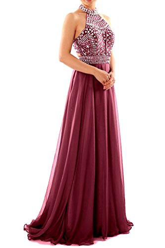 MACloth Women Halter High Neck Sleeveless Long Prom Party Dress Evening Gown Wine Red