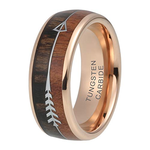 iTungsten 8mm Rose Gold Wedding Bands Tungsten Carbide Rings for Men Women Koa Wood Arrow Inlay Hunting Ring