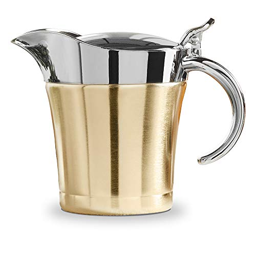 VonShef Brushed Gold Gravy Boat, Double Insulated Jug with Hinged Lid Ideal for Gravy or Cream at Thanksgiving, Stainless Steel, 16oz ()
