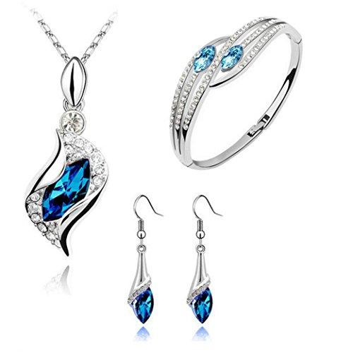 Yoyorule Fashion Jewelry Set Crystal Chic Eyes Drop Earrings+Necklace+Bracelet DIY (As picture)