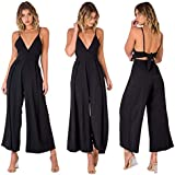 YT couple Women Sexy Solid Color Sleeveless Spaghetti Strap Back Lace Up Long Pant Casual Loose Jumpsuit Romper (Black, S)
