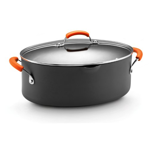 (Rachael Ray Hard Anodized Nonstick 8-Quart Oval Pasta Pot with Glass Lid, Orange)