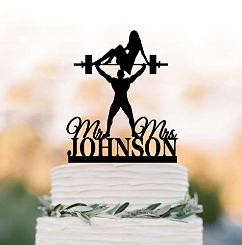 custom Wedding cake topper Weight lifting crossfitters silhouette with personalized name with mr and mrs (Weight Lifting Cake Topper)