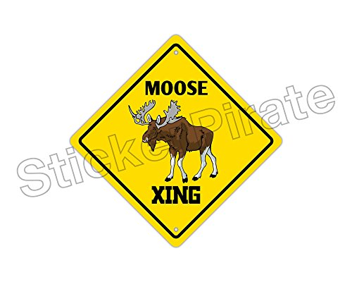 StickerPirate Moose Crossing Funny Metal Novelty Sign Aluminum - Moose Crossing Sign