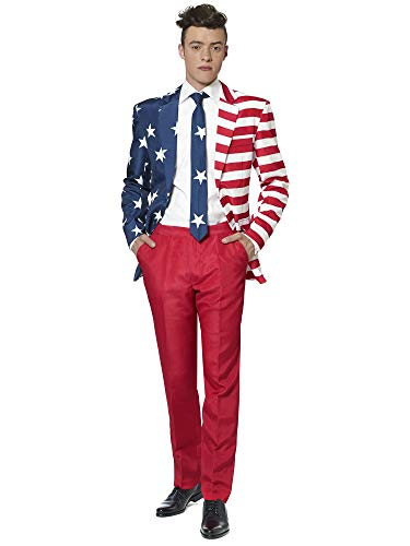 Suitmeister USA Suit with American Flag Print for Men Coming with Pants, Jacket & Tie - Perfect for 4th of July -