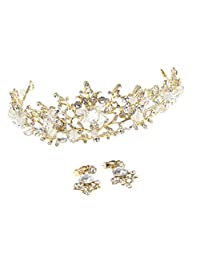 Baoblaze Crystal Beads Crown Bridal Tiaras with Earrings Princess Headband Wedding Party Favors