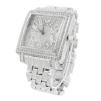 White Gold Tone Watch Square Face Analog Fully Iced Out Luxury Mens Jojino Bling (Iced Out Square Watch)