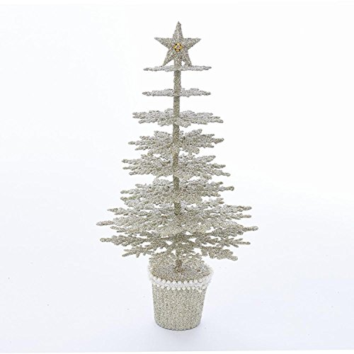 "CC Christmas Decor 13.5"" Golden Colored Glittery Platinum Finished Decorative Tree Table Topper by CC Christmas Decor"