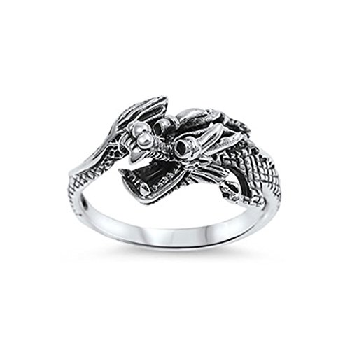 Sterling Dragon Silver Chinese - Noureda Sterling Silver Chinese Dragon Design Ring with Face Height of 11MM