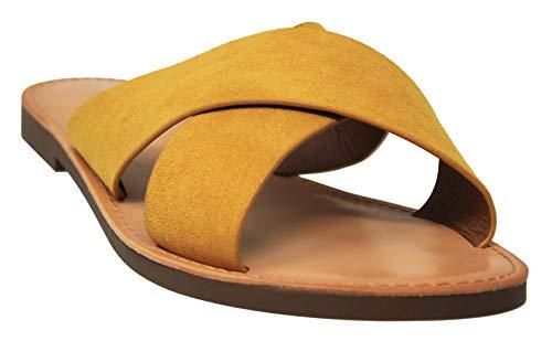 MVE Shoes Women's Strappy Flats Summer Shoes - Faux Leather Slip On Sandals - Criss Cross Slide Sandal, mus ISU Size 7.5 (Slide 96)