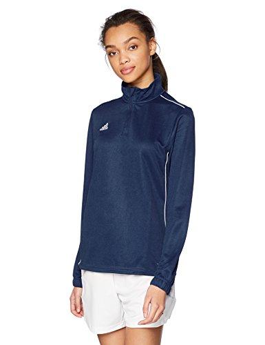 adidas Women's Soccer Core Training Top, Dark Blue/White, - Top Half Zip L/s