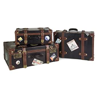 Voyager Faux-Leather Labeled Suitcases (Set of 3)