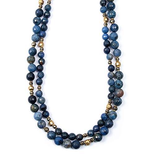 Blue Dumortierite Strand Necklace with Indian Hammered Brass Bead and Pyrite Accents - 34 Inches Long Handmade Necklace by Miller Mae Designs