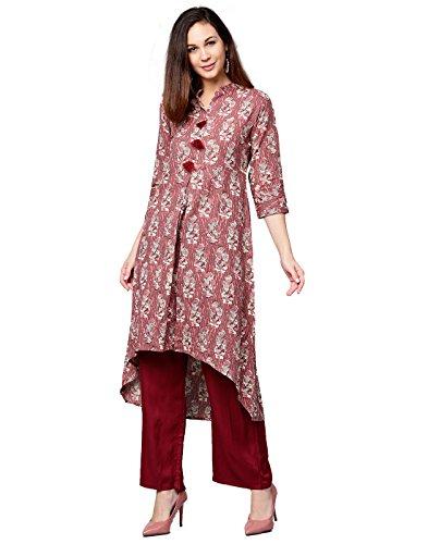 Jaipur Kurti Women Pastel Pink & Maroon Ethnic Motifs Straight Cotton Kantha Kurta With - For Women Party Suits Salwar Wear