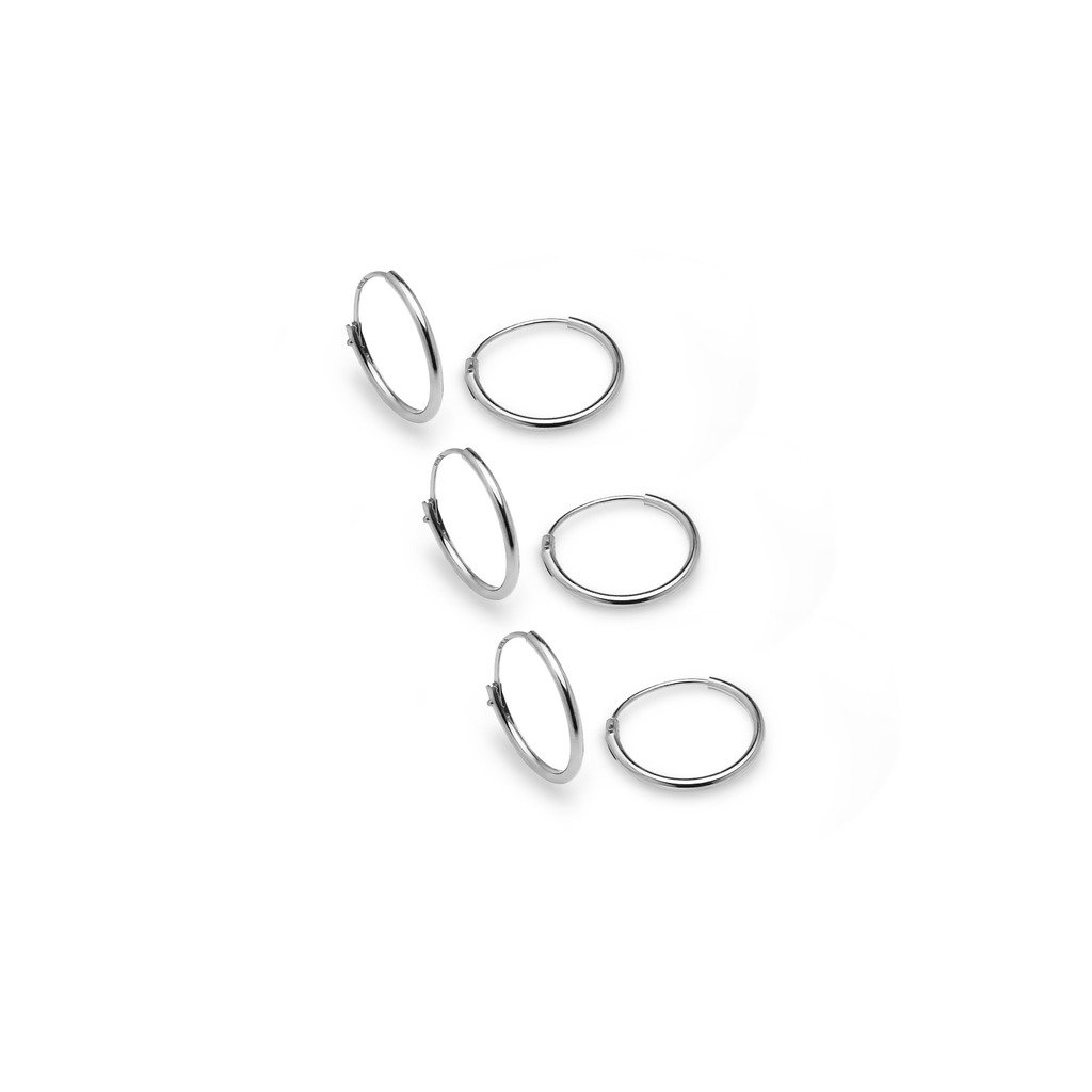 Sterling Silver 3 Pair Set 10mm Small Endless Thin Hoop Unisex Earrings for Cartilage Nose Lips | Silver