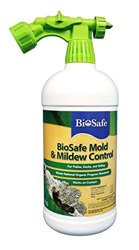 BioSafe Mold and Mildew Control Concentrate - 32 oz - Ready to Spray with Hose-End Pprayer - Works on Contact - OMRI Listed - EPA Registered - No Bleach - Safe for People, Pets and the Environment.
