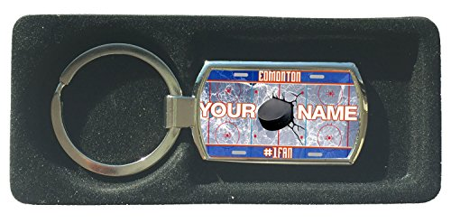 (BRGIftShip Customize Your Own Hockey Team Edmonton Metal Keychain)