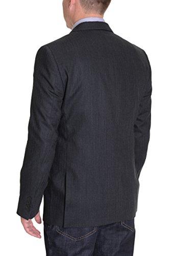 (DKNY Mens Trim Fit Charcoal Gray Herringbone Two Button Wool Blazer Sportcoat)