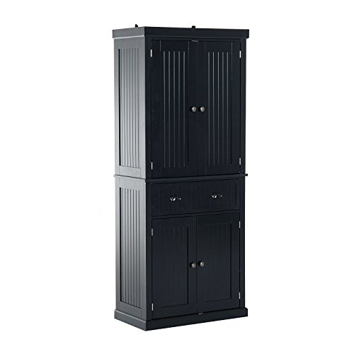 HOMCOM 72quot Traditional Colonial Standing Kitchen Pantry Cupboard Cabinet  Black