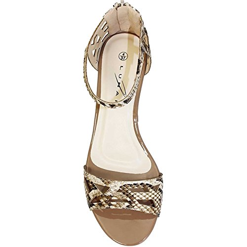 Peep Ladies Atlantic ® FANTASIA Toe Cut Beige Snake Heeled Out BOUTIQUE Sandals Fashion Strappy JLH745 wTY1Rx4q