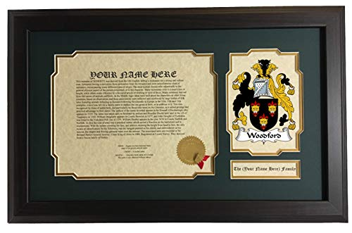 (Woodford - Coat of Arms and Last Name History, 14x22 Inches Matted and Framed)
