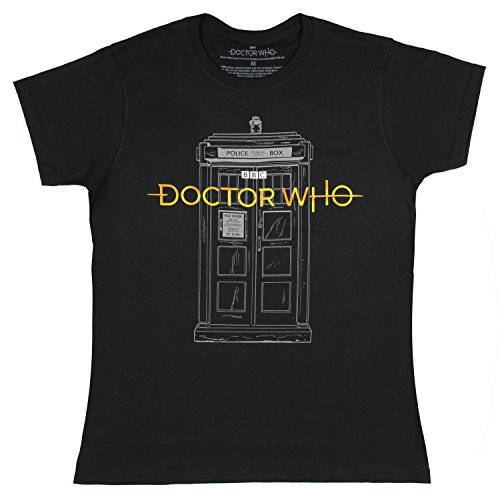 Doctor Who Women's New Logo with Sketch Tardis T-Shirt (XX-Large)