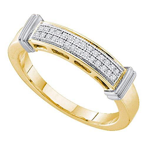 10kt Yellow Gold Womens Round Diamond 2-tone Band Ring 1/12 Cttw 2 Tone Gold Diamond Ring