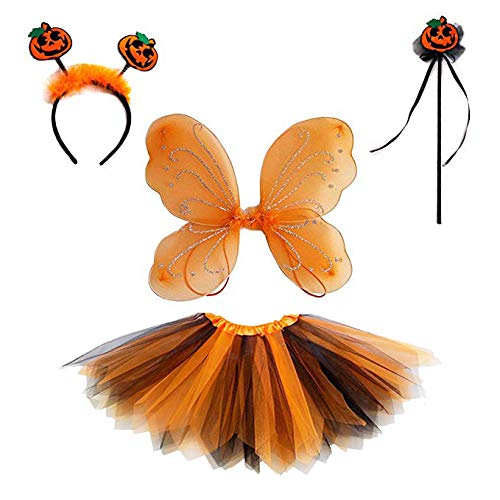 4 PC Girls Fairy Princess Costume Set with Butterfly Wings Tutu Wand Halo (Pumpkin Orange Black)