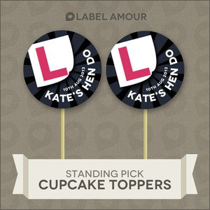 Label Amour 20 Personalised Cup Cake Toppers Hen Night Cupcake Decoration 001 L