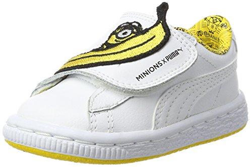 Puma Minions Basket Wrap Leather Inf, Zapatillas Unisex Niños Blanco (Whitewhiteminion Yellow)