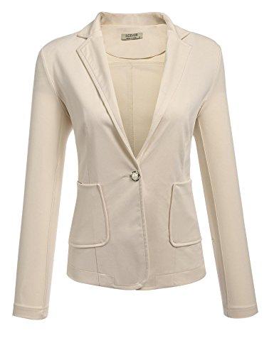 ACEVOG Women's Casual Office Cardigan Single Button Front Patchwork Elbow Asymmetrical Hem Long Sleeve Blazer Jacket,Khaki,Medium