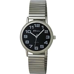 Ravel R0208.03.1S - Reloj de pulsera para hombre (correa de metal extensible), color plateado