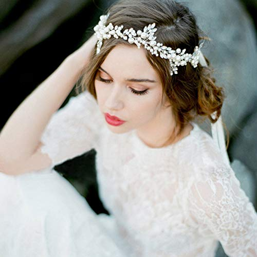 Wall of Dragon Fashion Handmade Silver Pearl Headband Leaf Headpiece Bridal Crystal Tiara Wedding Hair Accessories Women Hair Jewelry ()