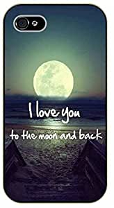 iPhone 4 / 4s I love you to the moon and back - black plastic case / Inspirational and motivational by supermalls