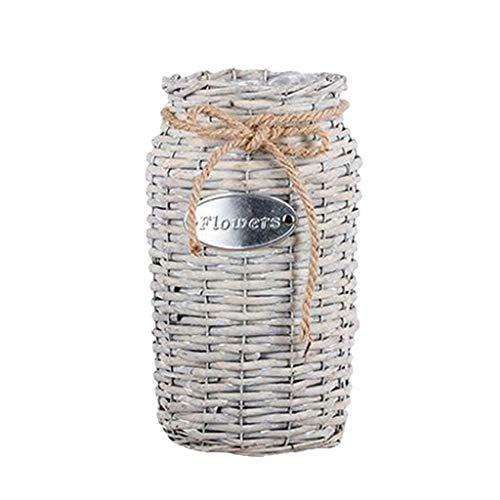 Fine Wicker Woven Storage Basket,Cotton Rope Plant Basket,Decorative Flower Pot Cover Closet Storage Bin Table Desk Organizer Modern Home Decor (Gray) (Modern Designs Rattan Furniture)