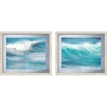 Amazon.com - PTM Images 2-13603 Teal Ocean Waves in White Frames ...