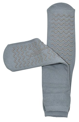 Secure (1 Pair) Ultra Soft Non Slip Grip Slipper Socks, Gray - Fall Injury Prevention Hospital Tread Sock for Safety, Comfort and Warmth