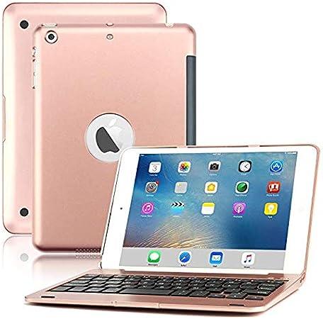 LOMQIT Funda de Teclado para iPad Mini 1/2/3, Funda Rígido de Teclado Inalámbrico Bluetooth con Soporte Plegable Y Función De Reposo/Activación ...