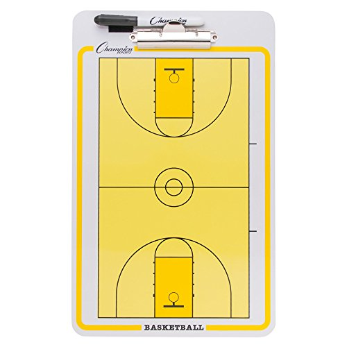 Champion Sports Large Dry Erase Board for Coaching Basketball - Whiteboards for Strategizing, Techniques, Plays - 2-Sided Boards with Clip - Front Side Full Court - Backside Half Court and -