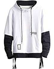 GURUNVANI Contrast Color Pullover Hoodie Mens Patchwork Hoodies Men (White, M)