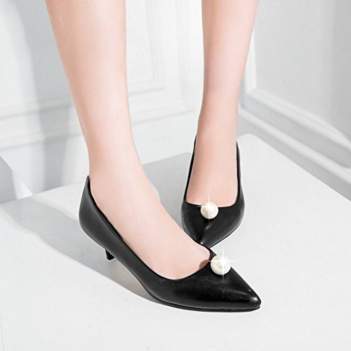 Carolbar Women's Fashion Solid Color Beaded Kitten Heel Spring Court Shoes Black jgEYFHO