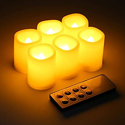 Kohree Realistic Battery-Powered Flameless Pillar Candles - Unscented Ivory Votive LED Candles with Remote Control & Timer, Batteries Included- 6 Pack