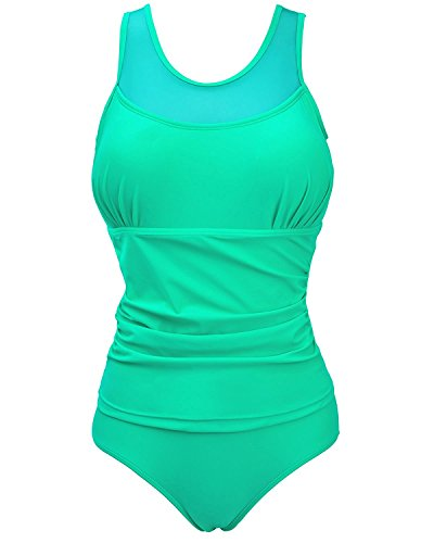 Baby-QQ Sexy;Hot Women One Piece Plus Size Solid Color Ruched Monokini Swimwear Green 0X]()