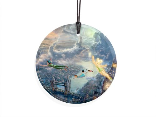 (Trend Setters Disney Thomas Kinkade Tinker Bell and Peter Pan Fly to Neverland Starfire Prints Hanging Glass)