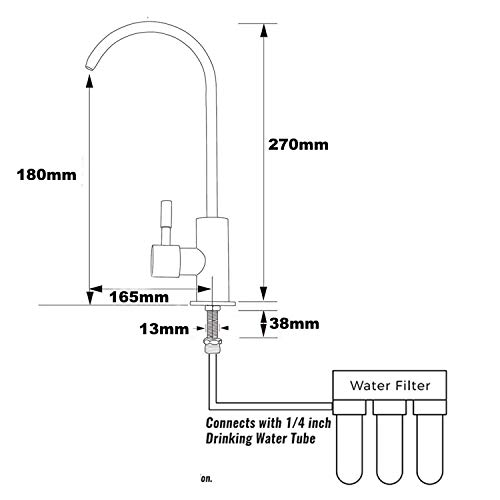 Ufaucet Modern Best Stainless Steel Brushed Nickel Kitchen Bar Sink Drinking Water Purifier Faucet, Commercial Water Filtration Faucet by Ufaucet (Image #6)
