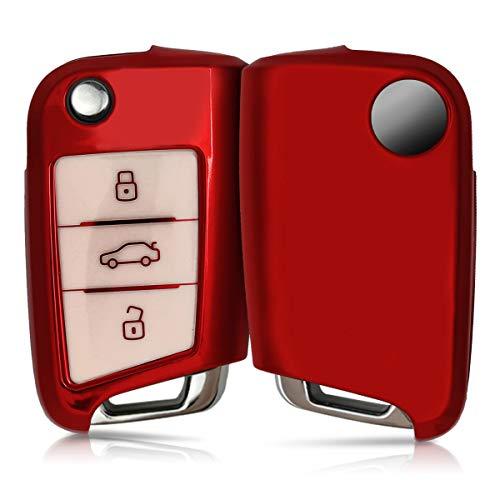 🥇 kwmobile Funda para Mando Compatible con VW Golf 7 MK7 – Funda TPU Llave con Botones para Llave de 3 Botones para Coche VW Golf 7 MK7 – Rojo Brillante/Blanco