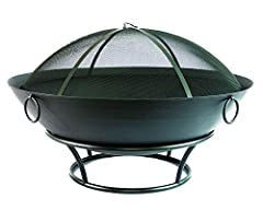Catalina Creations Extra Large Steel Fire Pit and Spark Screen is not your ordinary fire pit, it's built for large patios or wide-open backyards. The huge fire bowl will accommodate most any size logs for any sort of occasions. Made to last u...