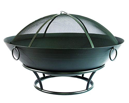 "Catalina Creations 43.5"" Extra Large Outdoor Steel Fire Pit and Spark Screen 