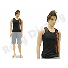 (PS-ROB+1 FREE WIG) ROXY DISPLAY Plastic Male Mannequin Flesh Tone + Base by Roxy Display